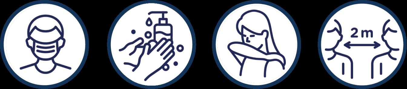 Renseignements pour visiteurs COVID masque lavage des mains distanciation 2 mètres